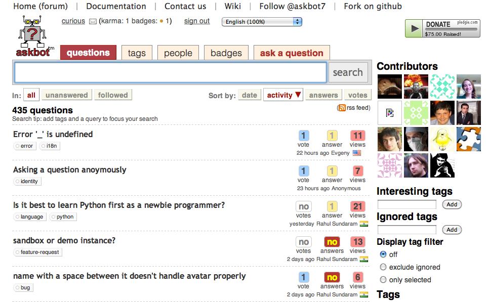 AskBot & Django Python Open Source Discussion Forums - Megha